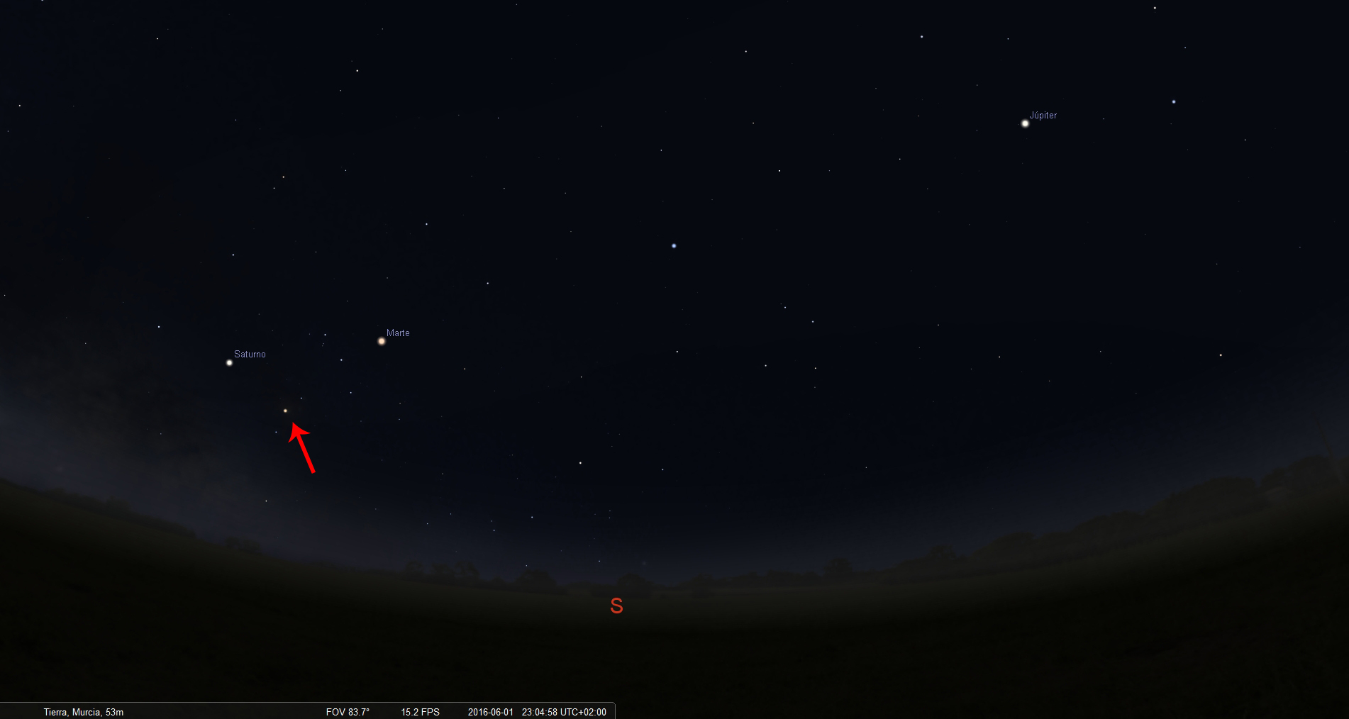 planetas a las 23h el primer dia con flecha