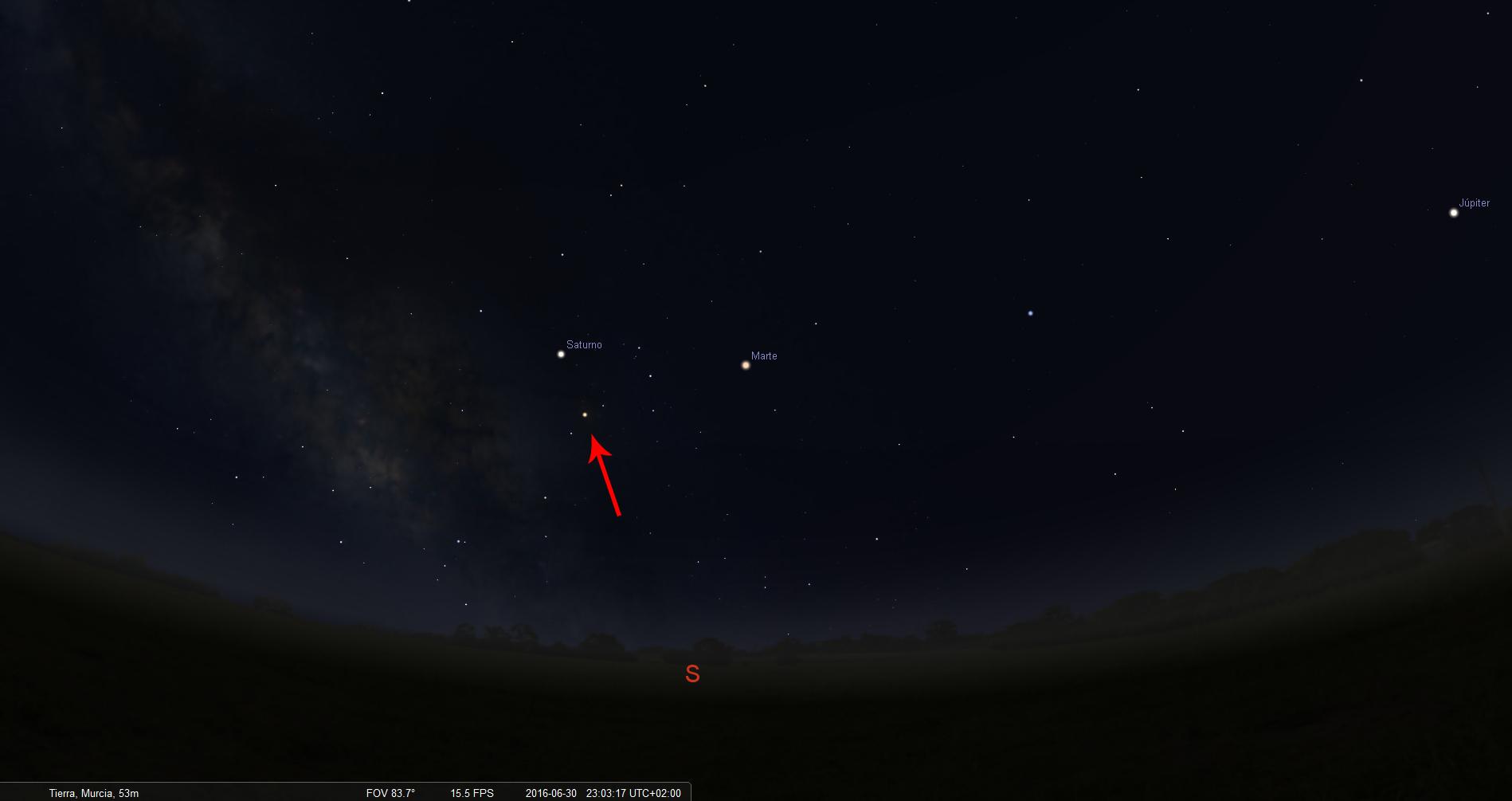 planetas a las 23h el ultimo dia con flecha
